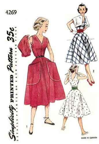 1950s day dress pockets pattern Just Peachy, Darling