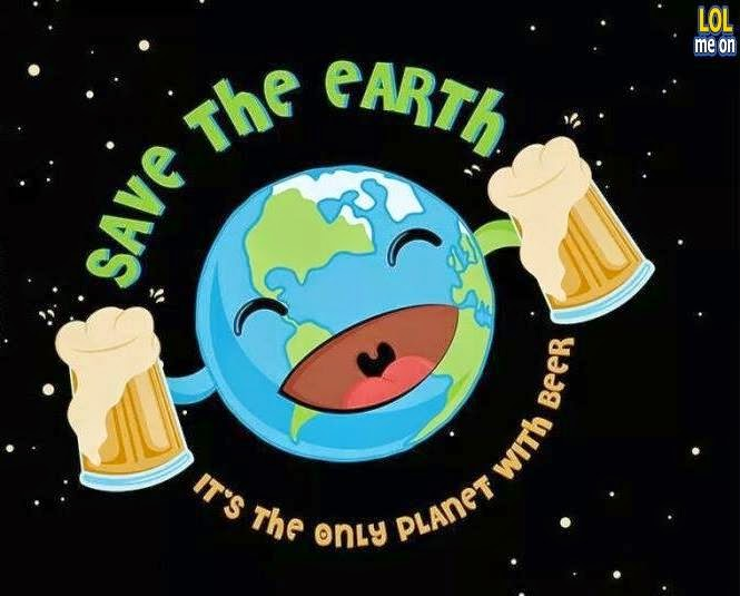 save the earth it's the only planet with beer - funny cartoon picture