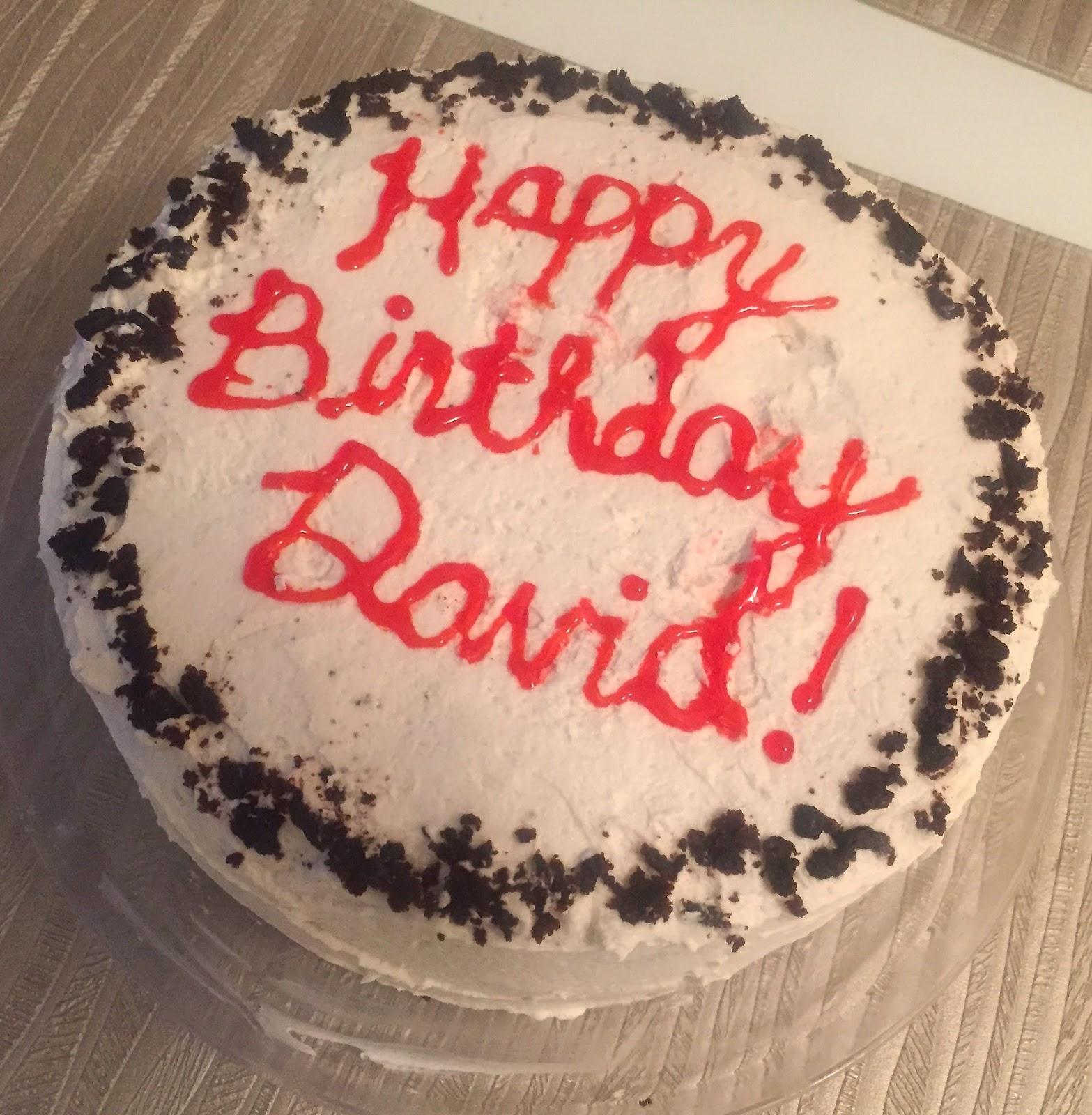 Happy Birthday David Cake Red Writing Vanilla