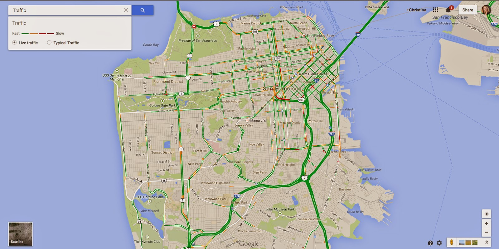 Tiny Yellow Teardrop Updated Google Maps - Google maps san francisco