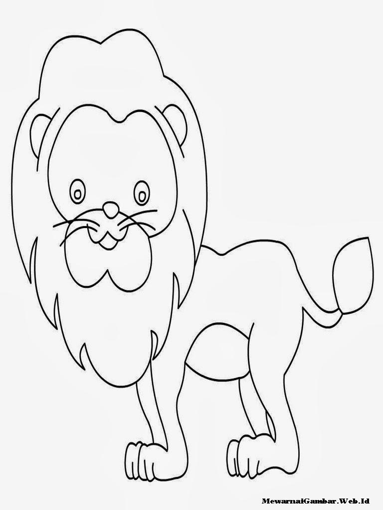 mewarnai gambar anak singa yang lucu