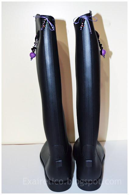 Μαύρες χειροποίητες γαλότσες ιππασίας με μαύρο φιόγκο, Swarovski, κρυσταλλάκια και χάντρες felt