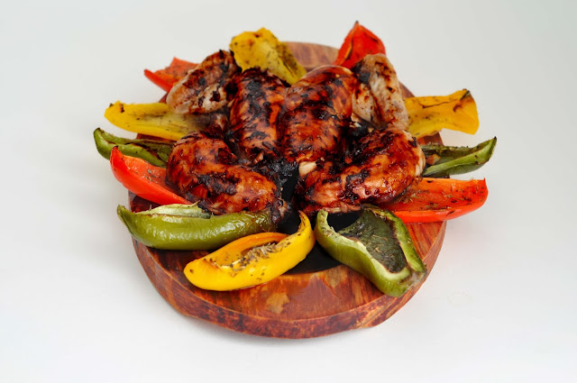 Teriyaki Grilled Poussin with Roasted Peppers ~ Simple Food
