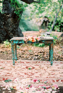 Vintage distressed green wooden table