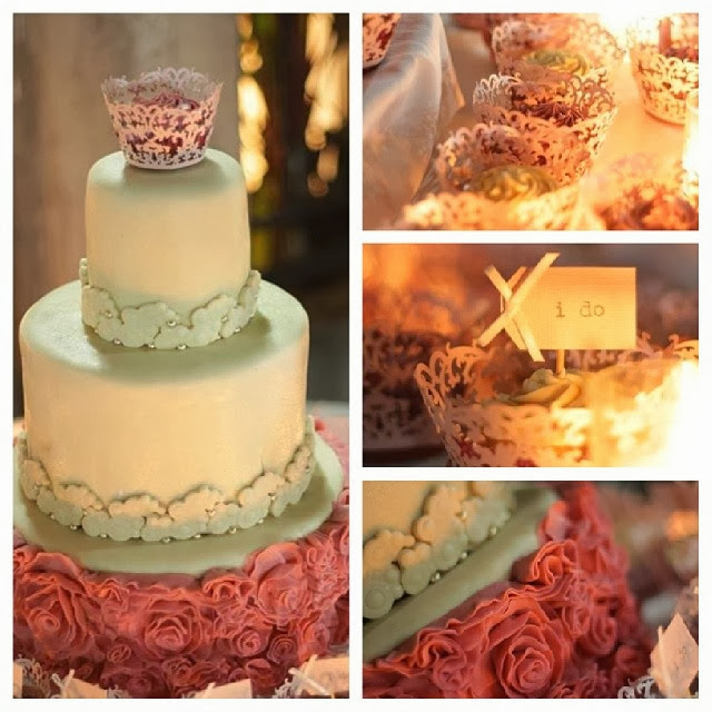 ivory and pink ruffled wedding cake