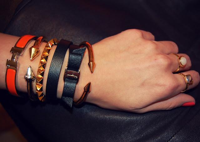Hermes bangle, Vita Fede Titan, Eddie Borgo studded bracelet, Salvatore Ferragamo wrap bracelet, Vita Fede Mini Titan
