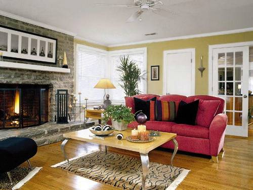 Art deco living room with magenta couch gallery