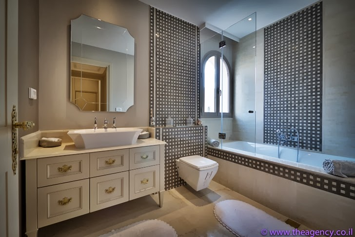 "Bathroom in an Elegant ""Jerusalem Dreams"" Penthouse Apartment"