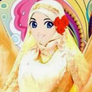 kartun muslimah cantik anggun