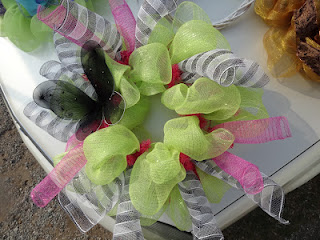 butterfly mesh wreath at the flea market