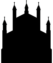 silhouette of small church