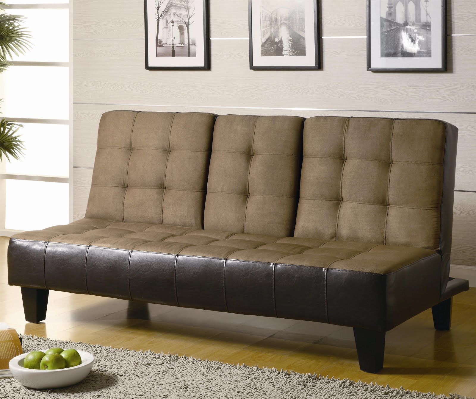 Leather And Fabric Sleeper Sofa With Tufted Adjustable Back