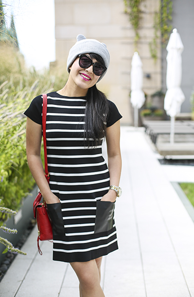 Zara stripe dress with faux leather pockets