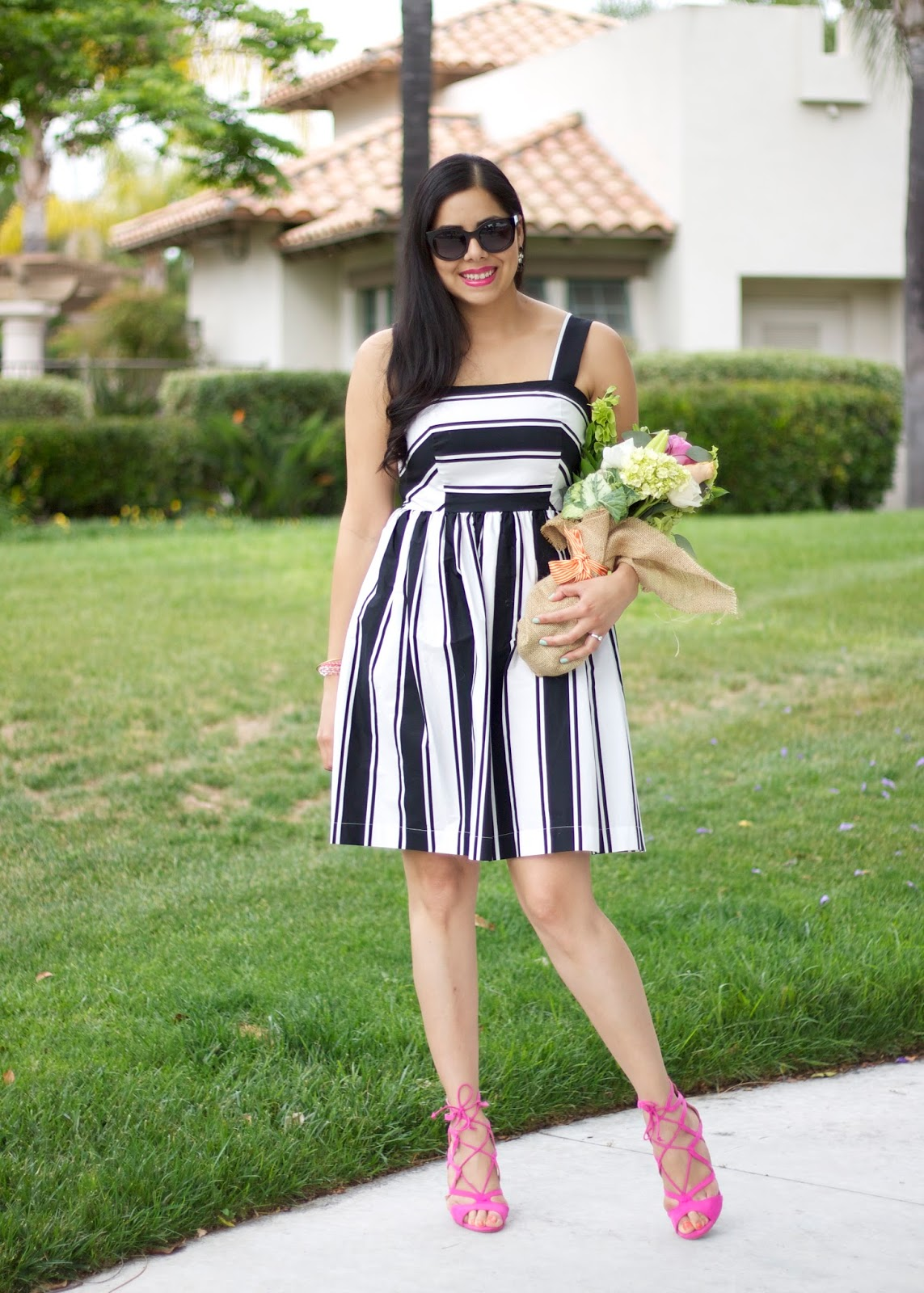 San Diego Fashion Blogger, bridal shower outfit, Latina Blogger, striped dress blogger