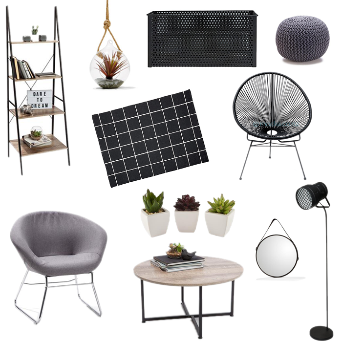 l to r kmart ladder industrial style kmart terrarium the warehouse mesh storage basket kmart knitted ottoman in charcoal the warehouse elemis rug - Kmart Baby