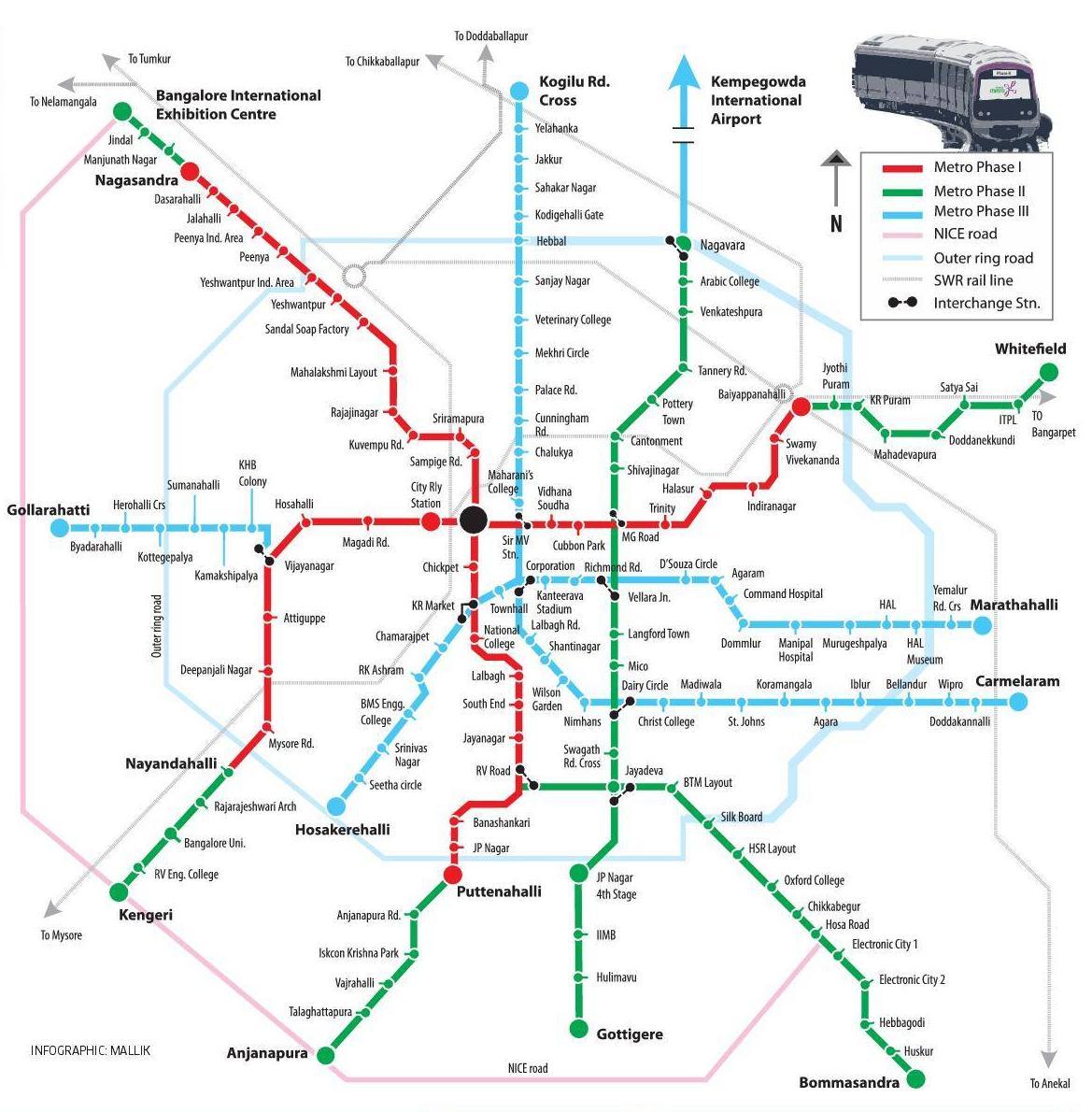 bangalore metro Menu: construction updates   overview   phase 1 info   phase 2 info   phase 2a info   phase 3 infointroductionthe bangalore (namma) metro system is an urban mass rapid transit system (mrts.