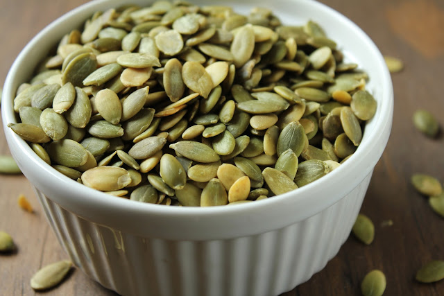 raw pepitas or hulled pumpkin seeds