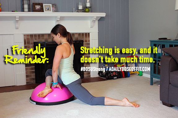 BOSUStrong, FitApproach, Sweat Pink. Hip Stretch, BOSU Stretch