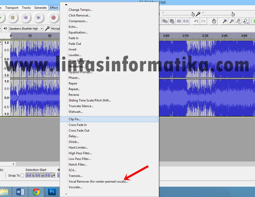 Cara Menghilangkan Suara Vokal Pada Lagu. 3. Selanjutnya pilih Effect -- V