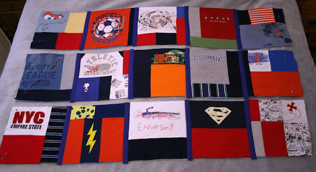 Tangible Pursuits: T-shirt Quilt - joining the rows