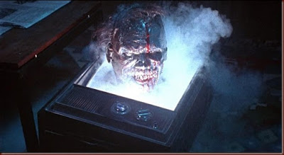 A zombie coming out of the television in The Video Dead