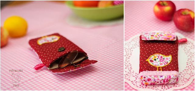 Чехол для очков, мягкий, текстильный, с аппликацией в виде птицы, розовый