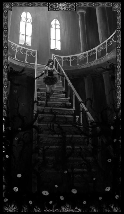 horror illustration dark woman