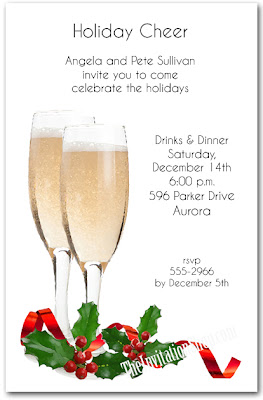 Click to shop Red Ribbon Champagne Toast Holiday Invitations