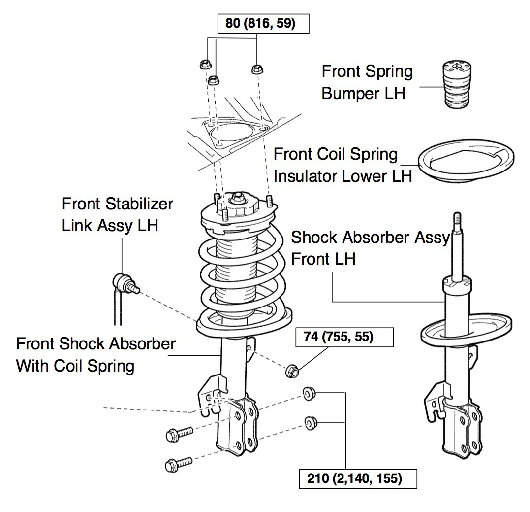 2004 Toyota Sienna front strut assembly diagram
