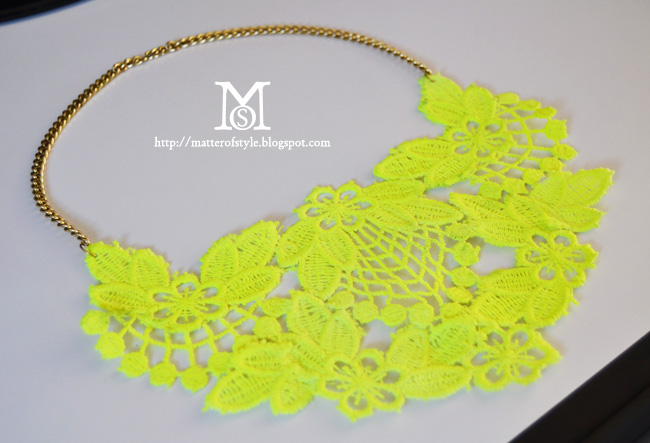 neon, lace, necklace diy, fashion diy, tutorial