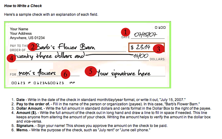 how to write on a check See an example of how to write a check, including an explanation of each step after you write the check, keep a record of the payment.