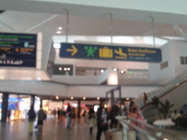 Direction to baggage claim, transfer and arrival hall.