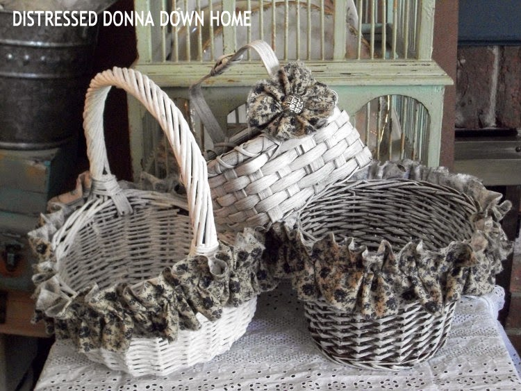 basket makeovers with fabric and paint