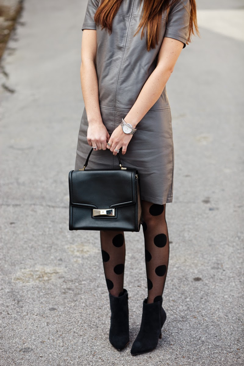 piperlime, moments of chic, polka dot tights, kate spade top handle purse, moto jacket,  vegan leather dress, pleather dress, polka dot tights, suede stilettoed booties,