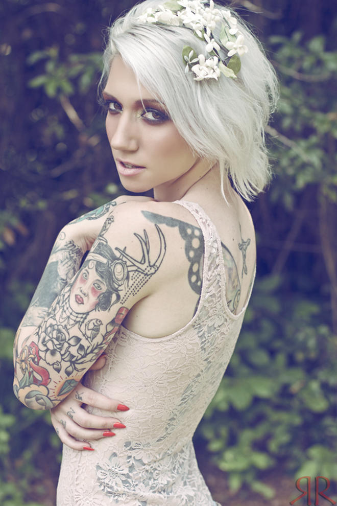 Portrait butterfly rose sleeve back female tattoofemale for Hot tattooed babes