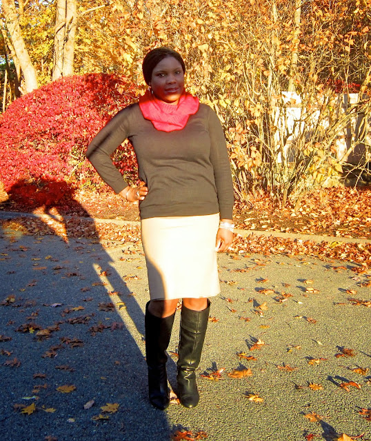 Khaki skirt, Wedge boots, Gap V Neck Sweater for busty frames, apple shape