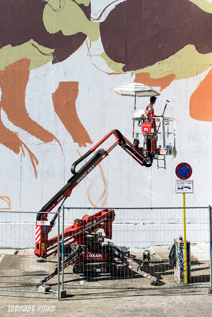 Spanish Street Artist Aryz at work on a new mural in Rennes For the Teenage kicks street art Festival. 4