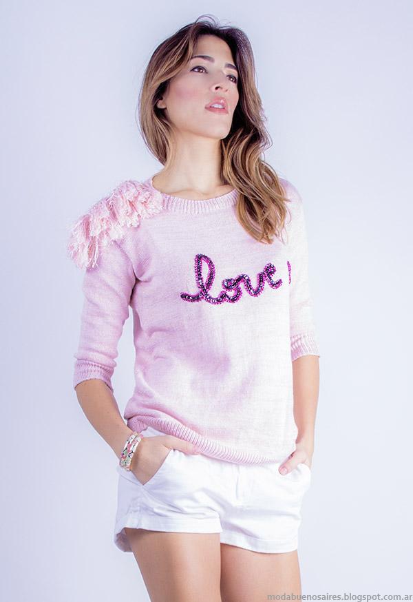 Sweaters de hilo primavera verano 2015 moda Linda Canaria Tejidos.