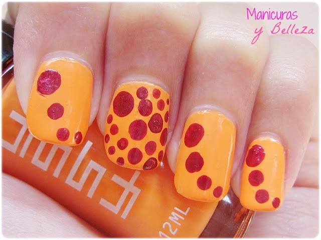 orange nails nail art dots kiko masglo manicura naranja puntos rellenos rojo red circulos