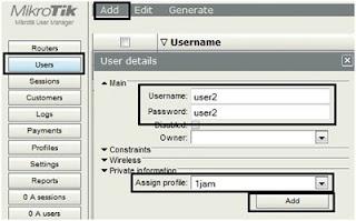 Memberikan hak akses internet Router A