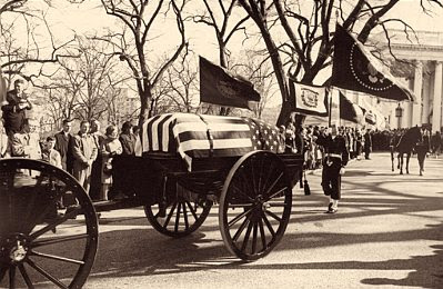 Horse-drawn caisson, funeral of John F. Kennedy, 11/25/1963
