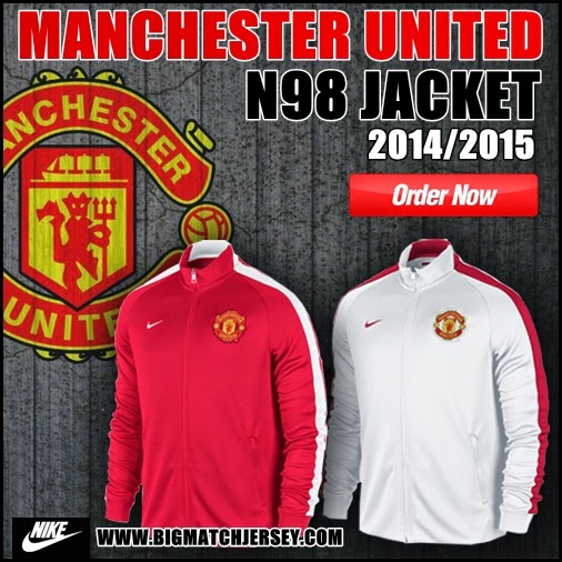 Jaket Bola Grade ORI Nike Manchester United Training N98 Red & White  Official 2014-2015