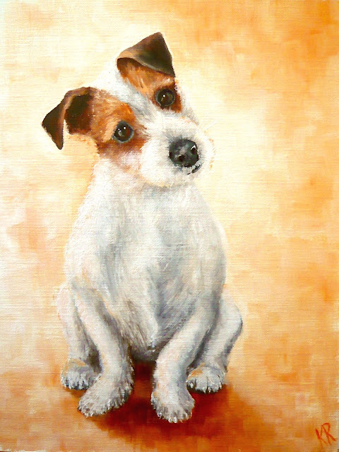 oil painting of a jack russell terrier