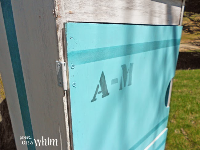 Record Cabinet Makeover with Stenciled Lettering from Denise on a Whim