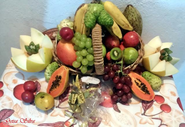 Melão, uva, manga, mamão, banana, cacau, maça, ameixa, pera ...