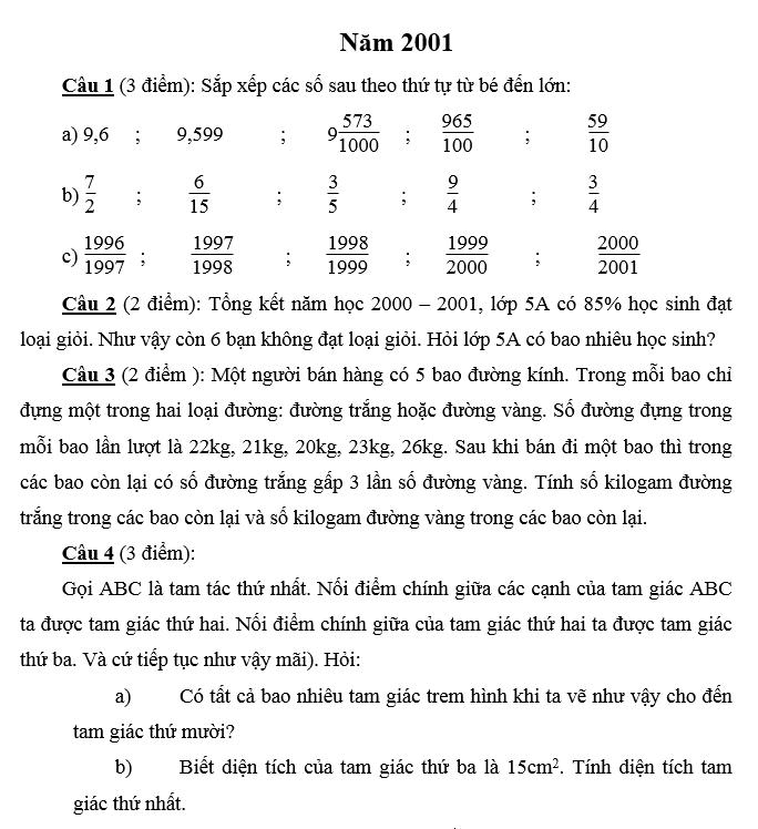 Đáp án đề thi vào lớp 6 môn toán Merie curie năm 2001 - 2002