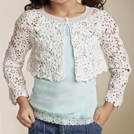 Biscotti Flyaway bolero... Crochet flower motif