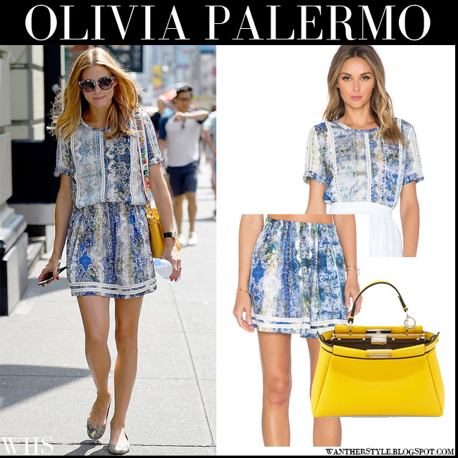 Olivia Palermo in blue multi print silk Tularosa Seraphina top matching blue Tularosa Carter mini skirt and yellow Fendi Peekaboo bag what she wore july 20