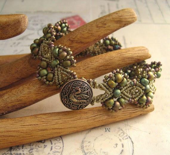 Dragon bracelet in khaki by Knot Just Macrame.