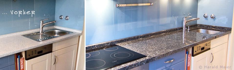 Wir renovieren Ihre Küche : weisse Kueche - welche Arbeitsplatte passt?